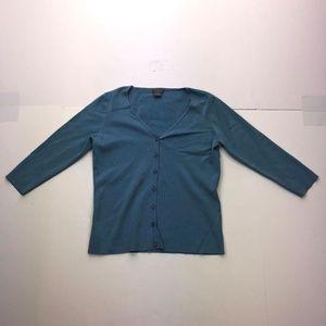 Ann Taylor SP Blue Button Down 3/4 Sleeve Blouse